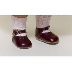 Zapato Merceditas Piel Burdeos